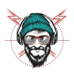 Bearded man listening a music in headphones vector