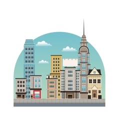 City downtown buildings style vector