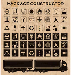 Package constructor packaging symbols icon set vector