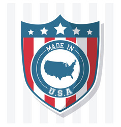 made in usa flag shield map national image vector image