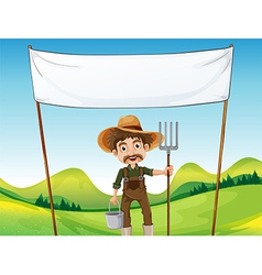 A farmer below the empty signage vector
