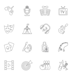 Entertainments icons outline vector image