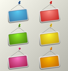 Colorful blank labels with pins template vector