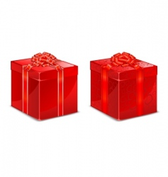 Red box with bow vector