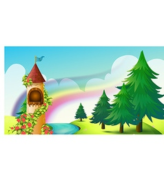 Castle and rainbow vector