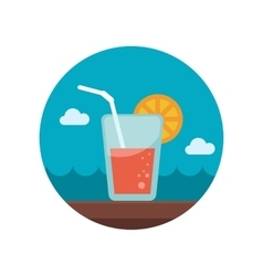 Cocktail flat icon with long shadow vector