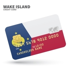 Credit card with wake island flag background for vector