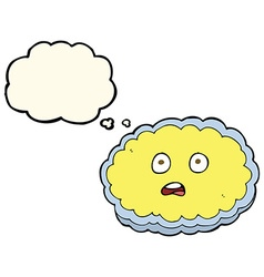 Shocked cartoon cloud face with thought bubble vector