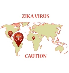 Zika Virus with mosquito earth map infographic vector image