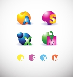 Alphabet letter 3d sphere set logo vector
