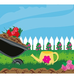 Planting flowers vector