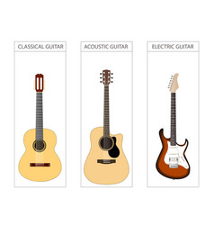 Acoustic electric and classical guitar set vector