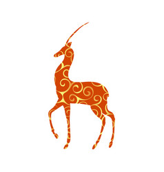 Antelope mammal color silhouette animal vector