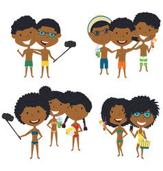 Beach african-american male and female characters vector