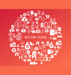 Bitcoin icons for currency exchange online on vector