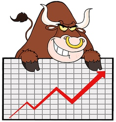 Brown Bull With Business Graph vector image vector image