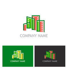 building cityscape colorful logo vector image