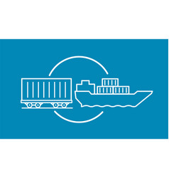 Container delivery by rail and water transport on vector