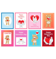 Cute soft toy bears and white doves in love set vector