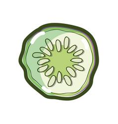 Delicios cucumber slice to healthy salad vector