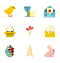 Easter holiday icon set flat style vector