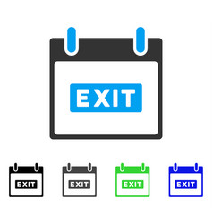 Exit caption calendar day flat icon vector