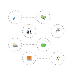flat icons sweeper gauntlet laundry and other vector image vector image