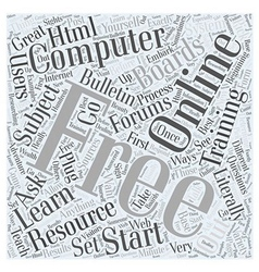 Free Online Computer Training Word Cloud Concept vector image