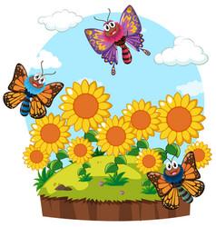 garden scene with butterflies in sunflower garden vector image vector image