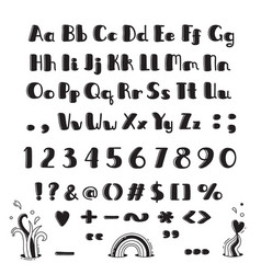 hand drawn alphabet capital letters lowercase vector image