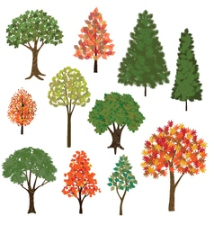 hand drawn trees vector image