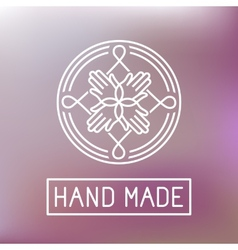 hand made label in outline trendy style vector image vector image