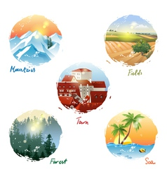 landscape types vector image vector image
