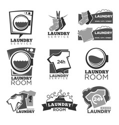 Laundry service or laundromat labels vector
