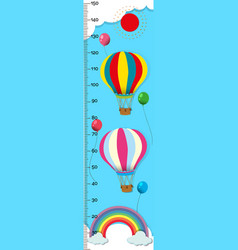 Measuring height scales on paper with balloons in vector
