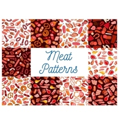 Meat delicatessen sausages seamless patterns vector