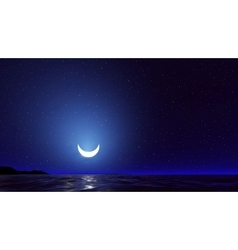Night sky with ocean moon stars background vector