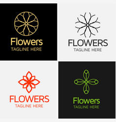 royal flower logo template vector image vector image
