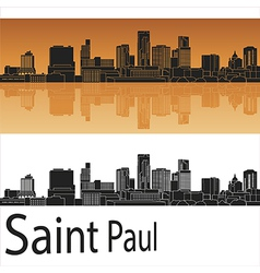 Saint Paul skyline in orange background in vector image vector image