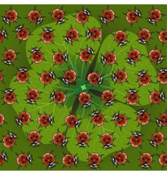 seamless pattern clover with ladybug vector image vector image