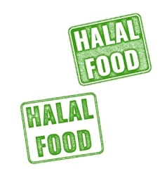 Set of realistic halal food rubber stamp vector