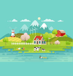 Spring village landscape eco living vector