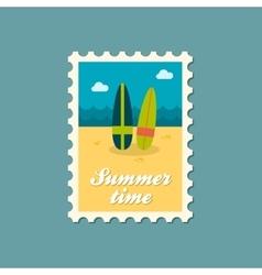 Surfboard flat stamp summertime vector image