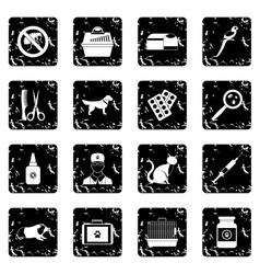 Veterinary set icons grunge style vector image vector image