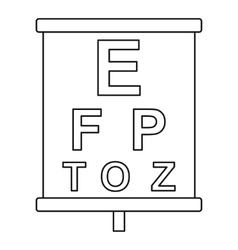 Placard with letters eyesight testing icon vector