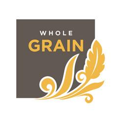 whole grainemblem ear of wheat ecology symbol vector image