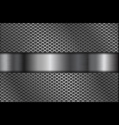 Metal perforated background with shiny steel vector