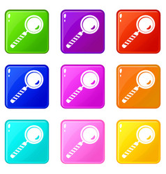 Magnifying glass icons 9 set vector