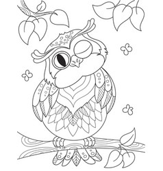 cartoon coloring book funny owl on the tree vector image