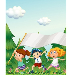 Kids running with an empty banner vector